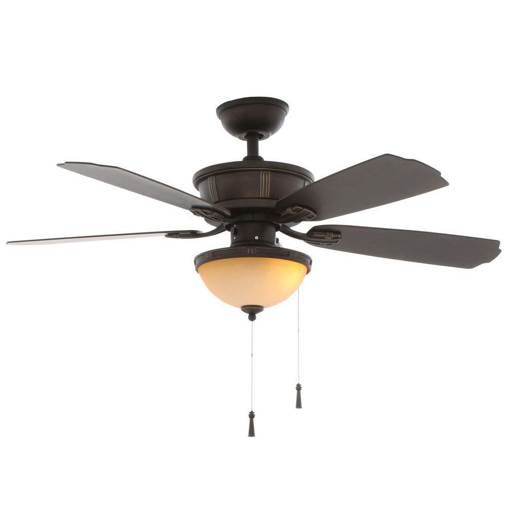 Hampton Bay Umber 46 in. Indoor/Outdoor Oil Rubbed Bronze Outdoor Ceiling Fan with Light Kit