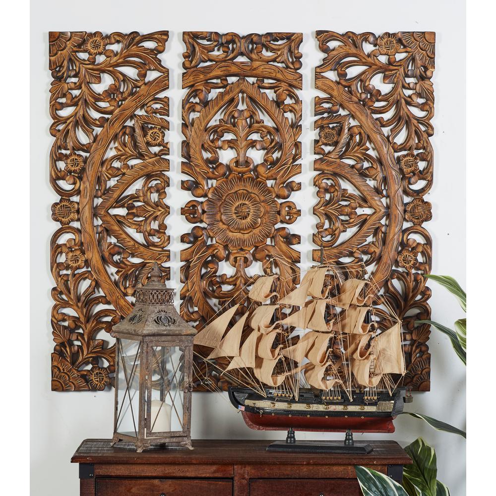 "Litton Lane 36 in. x 12 in. ""Carved Botanical Medallion"" Framed Wooden Wall Art (Set of 3)"