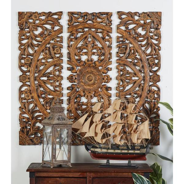 Litton Lane 36 In X 12 In Quot Carved Botanical Medallion