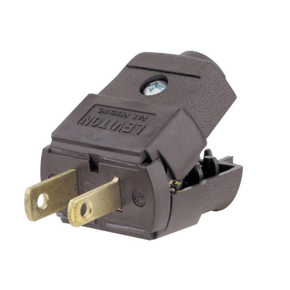 Leviton 15 Amp 125-Volt 2-Pole Light-Duty Plug, Brown-R60-00101-0P0 ...