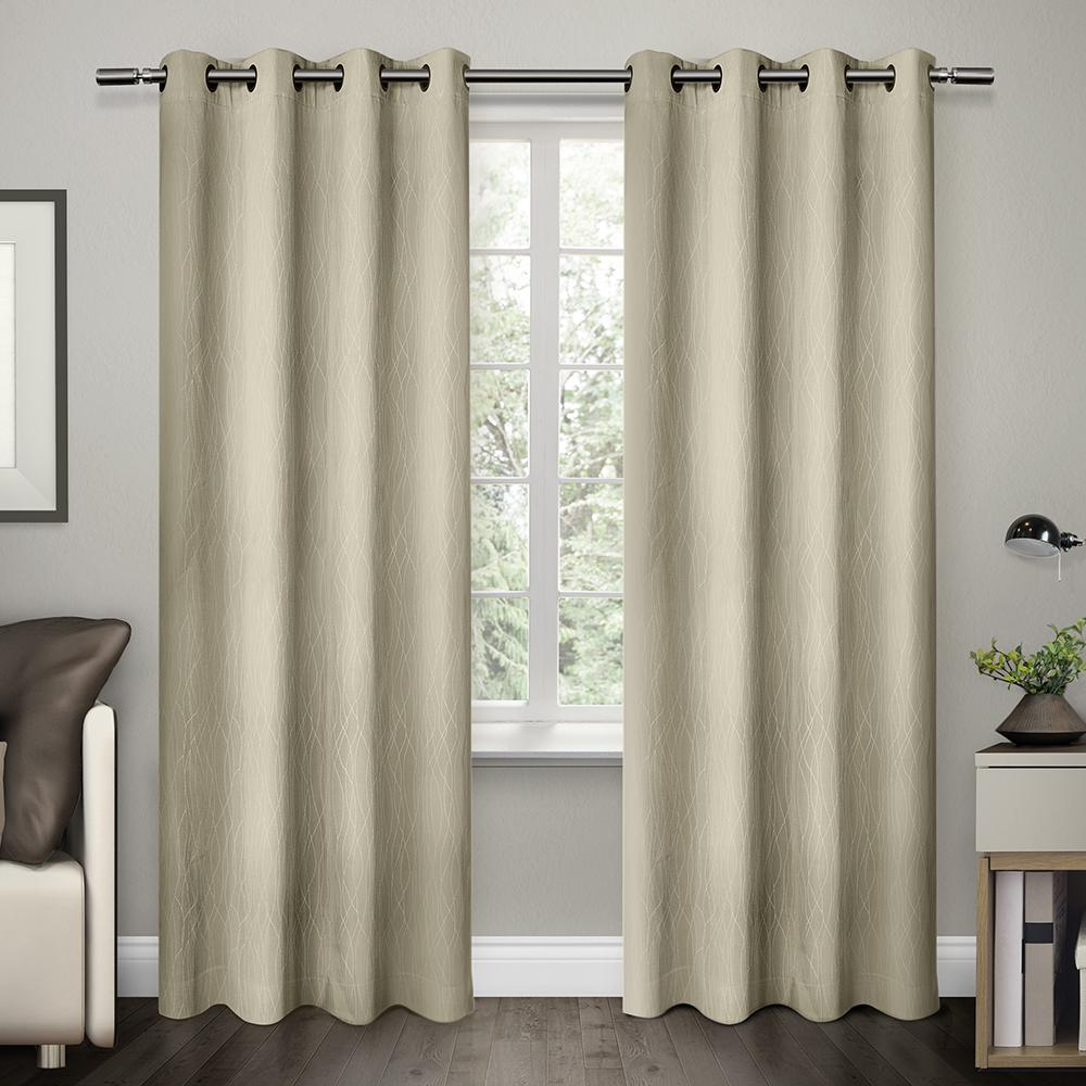 Cressy Ash Grey Geometric Textured Linen Jacquard Grommet Top Window Curtain Eh8114 01 2 84g