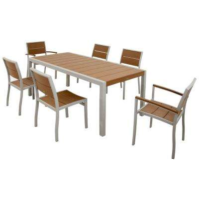 Surf City Textured Silver 7-Piece Plastic Outdoor Patio Dining Set with Tree House Slats