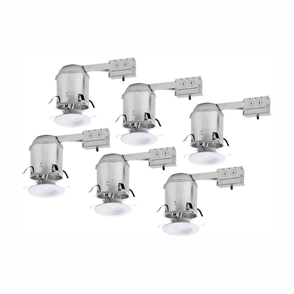Halo RL 6 in. Remodel Ceiling Housing and Dimmable White Integrated LED Recessed Light Retrofit Kit, T24 Rated, (6-Pack)
