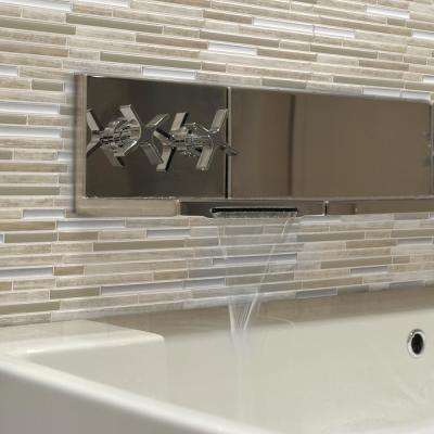 Capri Approximately 3 in. W x 3 in. H Taupe Peel and Stick Decorative Mosaic Wall Tile Backsplash Sample
