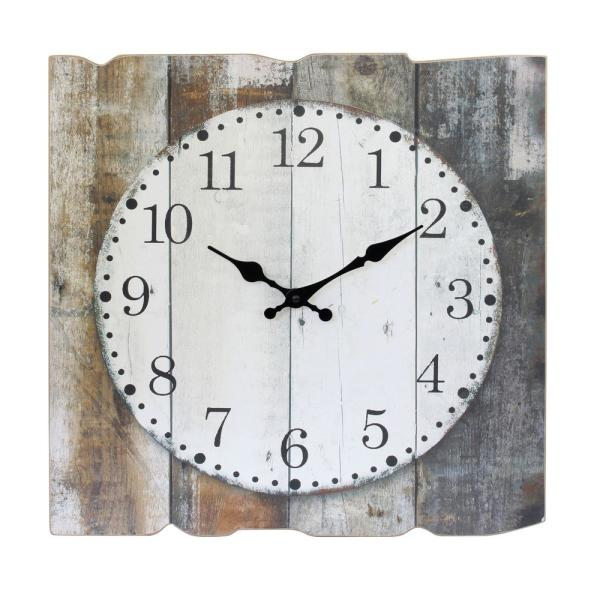 Worn Wood Square 15'' Rustic Farmhouse Arabic Number Battery Operated Wall Clock