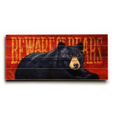 """25 in. x 34 in. """"Beware of Bears by Grand Image """"Planked Wood"""" Wall Art"""