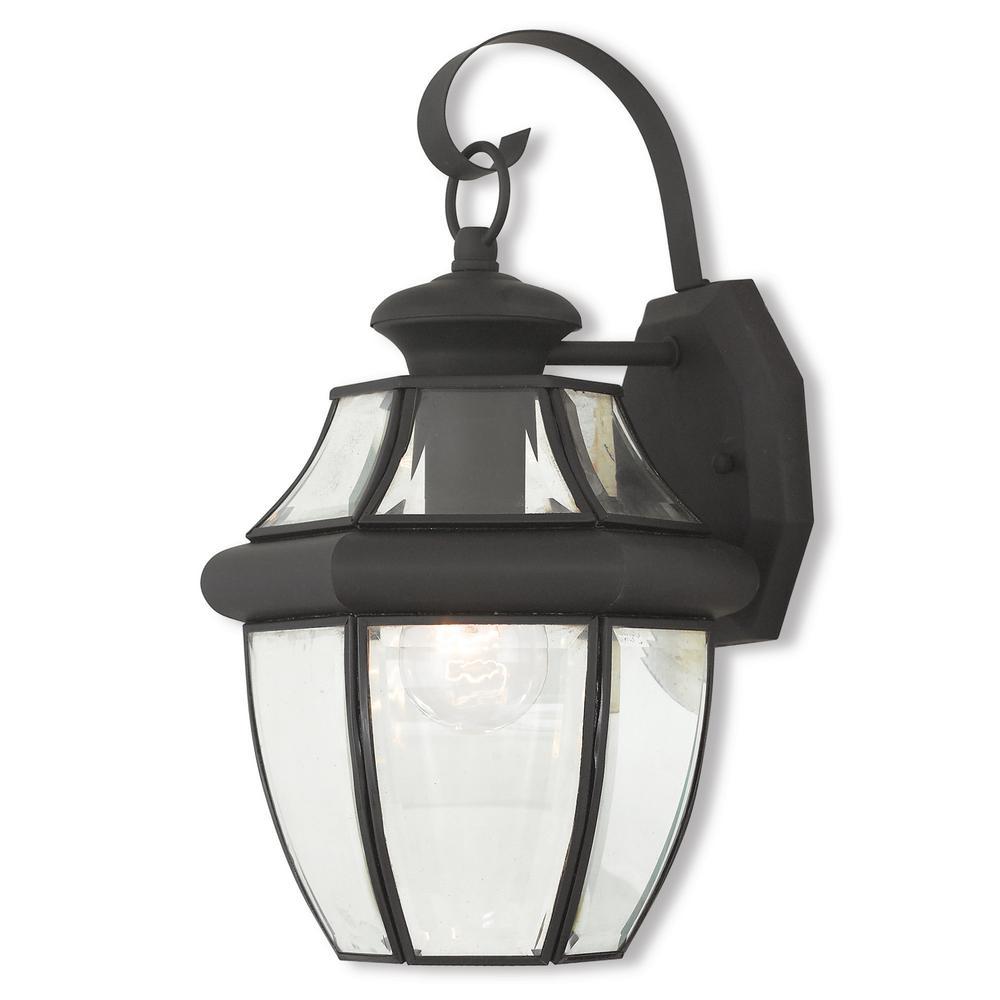 Monterey 1-Light Black Outdoor Wall Mount Lantern