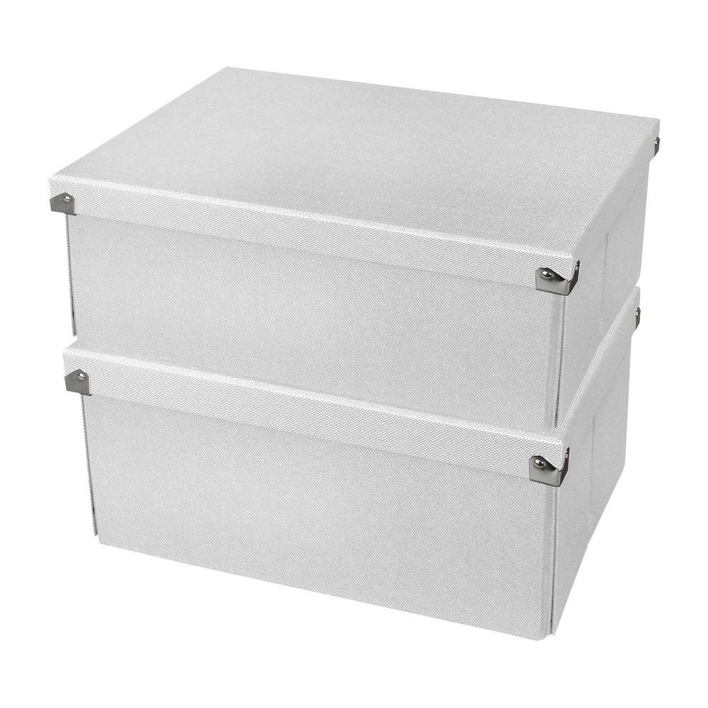 Medium Doent Box With Lid In White 2 Pack