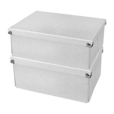 Medium Document Box with Lid in White (2-Pack)