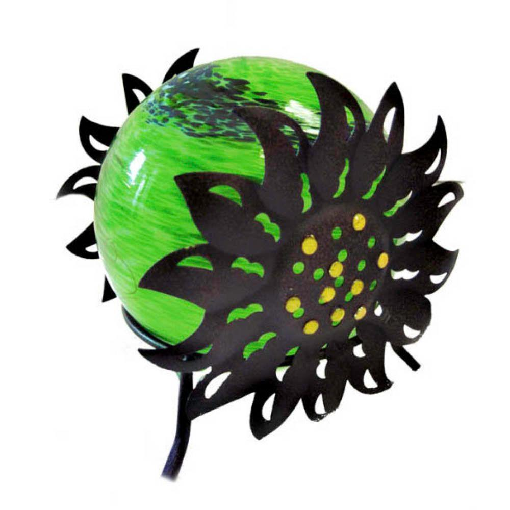 null 7 in. Solar Glass Silhouette Sunflower with Green Light