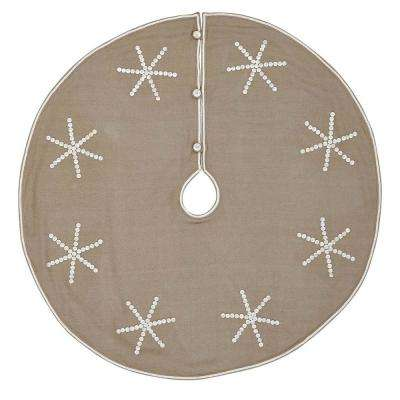 48 in. Pearlescent Natural Tan Coastal Christmas Decor Tree Skirt