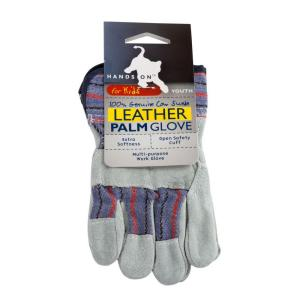 HANDS ON Premium Suede Youth Sized Leather Palm Work Glove by HANDS ON