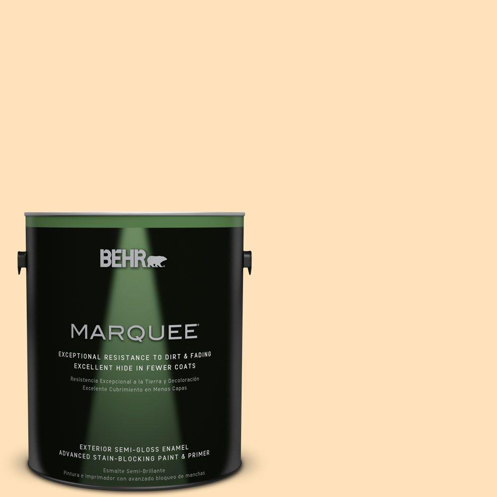 BEHR MARQUEE 1-gal. #icc-91 Lemon Whip Semi-Gloss Enamel Exterior Paint, Yellows/Golds