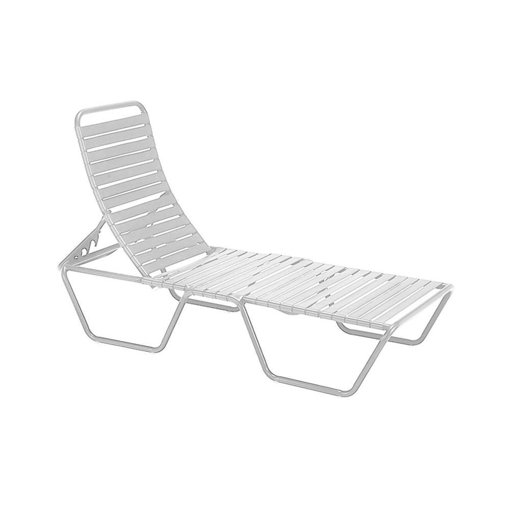 Tradewinds Milan White Commercial Patio Chaise Lounge