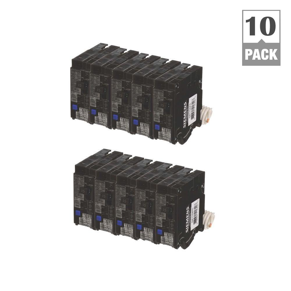siemens 15 amp single pole combination afci circuit breakers 10 pack bunqaafc1510 the home depot. Black Bedroom Furniture Sets. Home Design Ideas