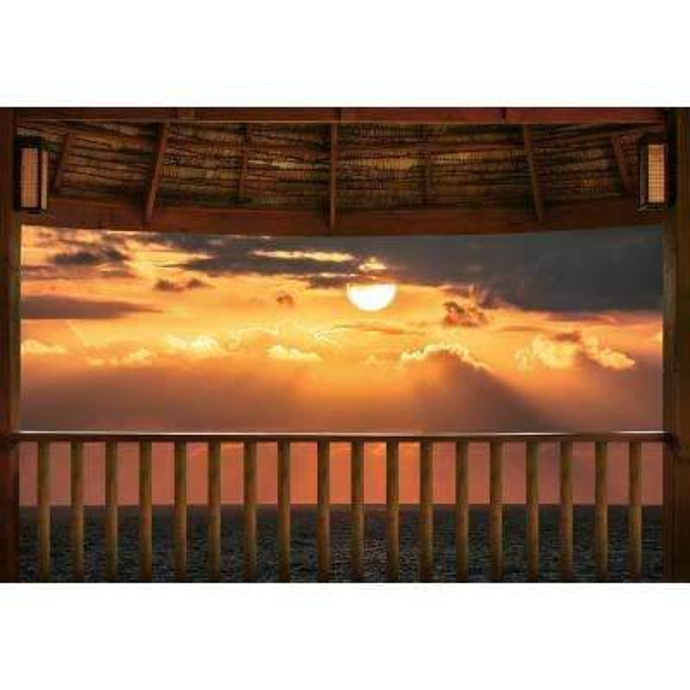 Ocean View Terrace At Sunset Wall Mural