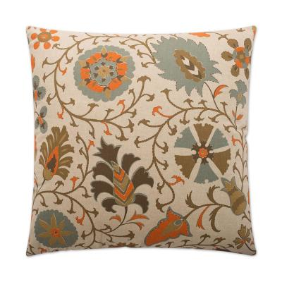 Calypso Orange Geometric Down 24 in. x 24 in. Throw Pillow