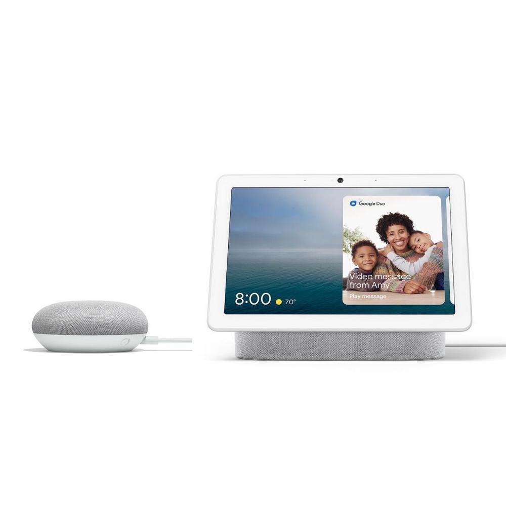 Nest Hub Max 10'' Smart Display Chalk + Nest Mini (2nd Gen) Smart Speaker Chalk