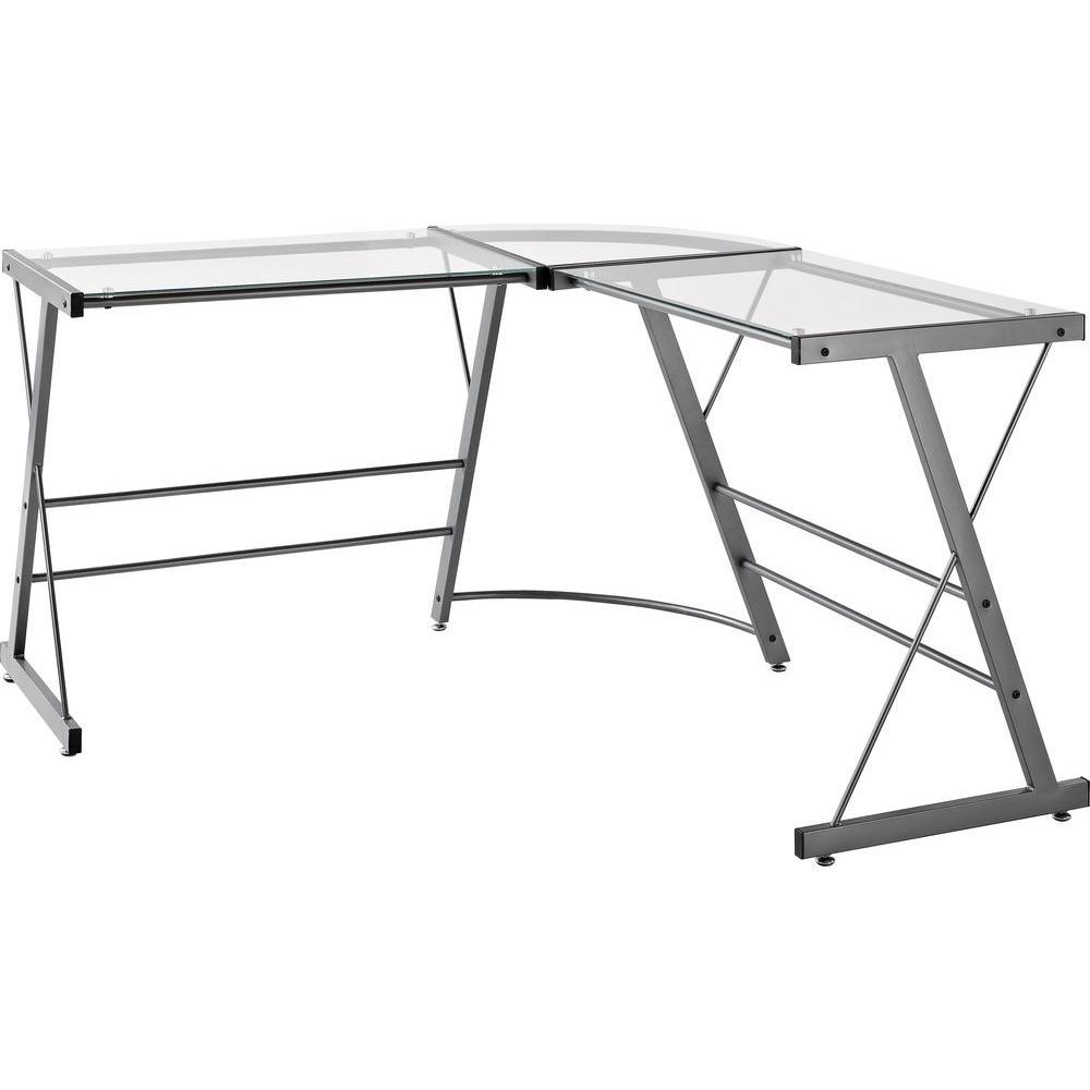 Oxford L-Shaped Gray Desk