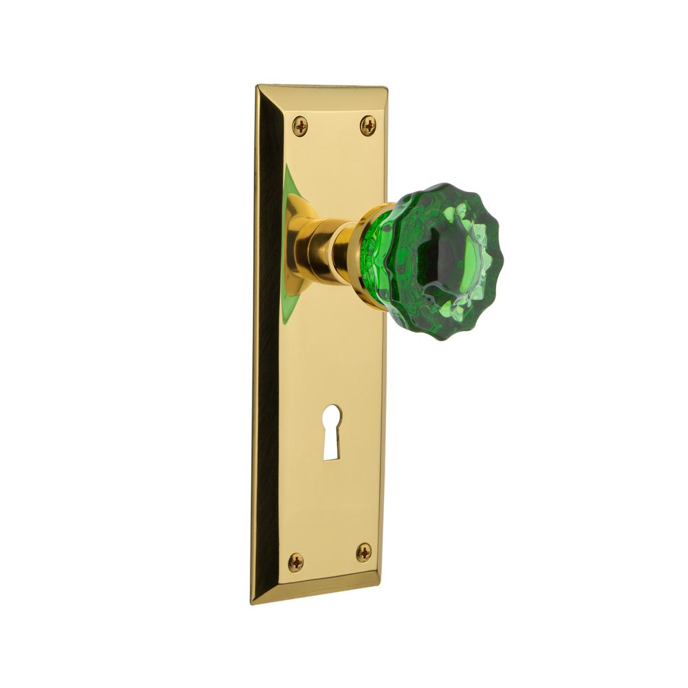 New York Plate with Keyhole 2-3/8 in. Backset Unlaquered Brass Passage Crystal Emerald Glass Door Knob