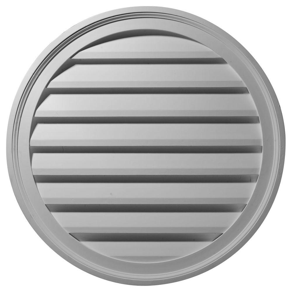 Ekena Millwork 2 in. x 36 in. x 36 in. Decorative Round Gable Louver Vent