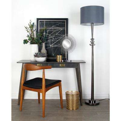 65 in. Gray Metal and Glass Floor Lamp with Cylindrical Shade and Silver Post