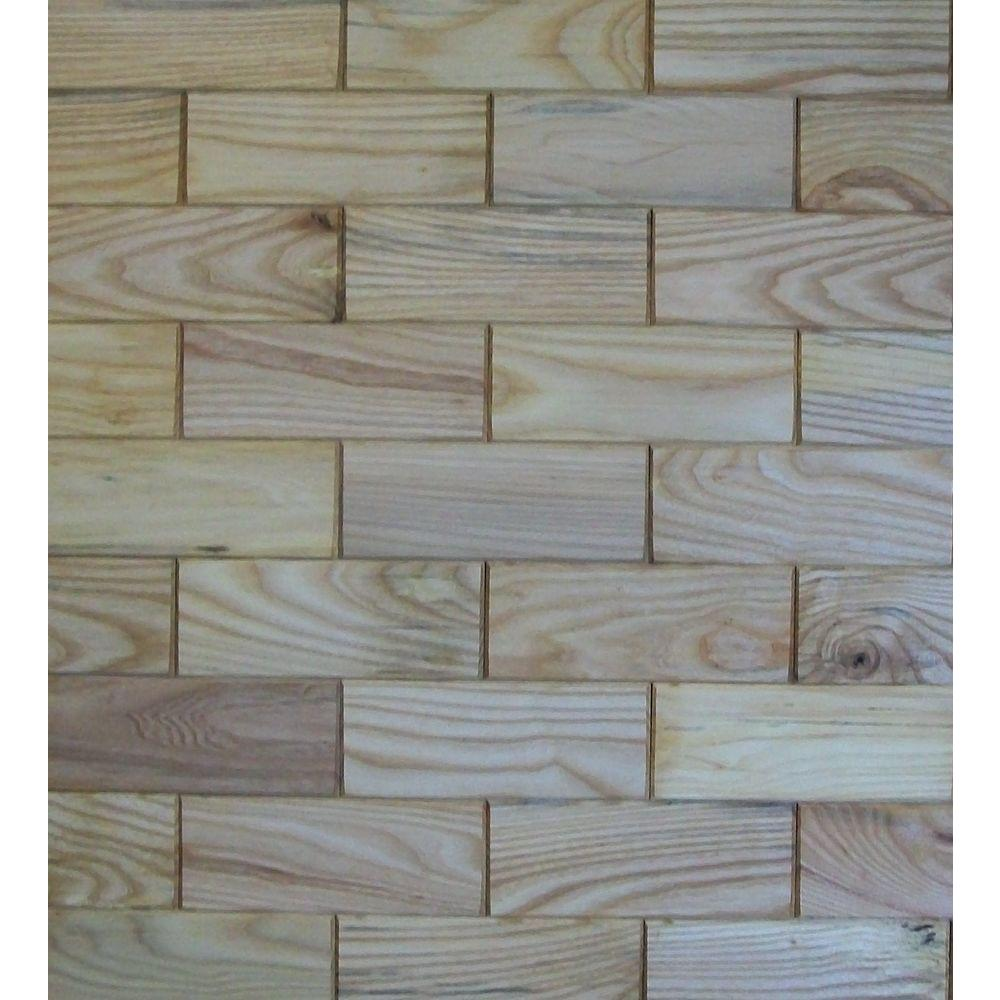 Rustix Woodbrix 3 in. x 8 in. Prefinished Ash Wooden Wall Tile