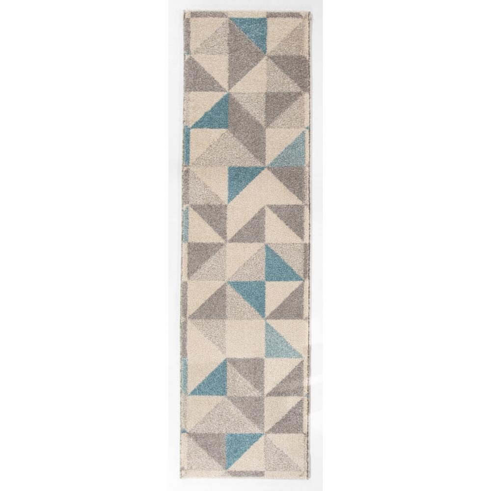 Larisa Blue 2 ft. x 7 ft. Geometric Runner Rug