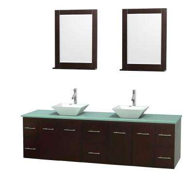 Centra 80 in. Double Vanity in Espresso with Glass Vanity Top in Green, Porcelain Sinks and 24 in. Mirrors