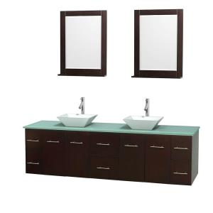 Wyndham Collection Centra 80 inch Double Vanity in Espresso with Glass Vanity Top in Green, Porcelain Sinks and 24 inch... by Wyndham Collection