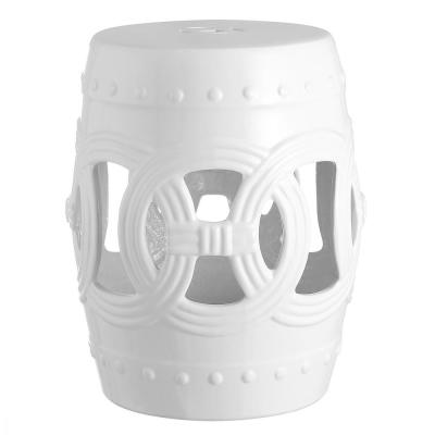 16 in. White Chinese Ceramic Drum Lucky Coins Garden Stool