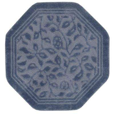 Wellington 4 ft. x 4 ft. Nylon Octagon Bath Rug in Blue