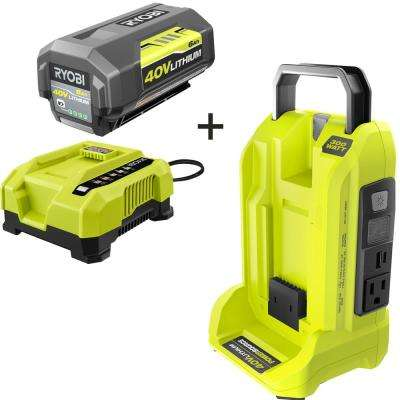 300-Watt Powered Inverter for 40-Volt Battery with 6.0 Ah Battery and Rapid Charger