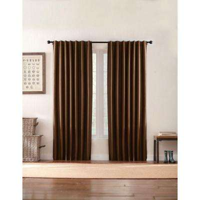 Semi-Opaque Brown Textured Thermal Back Tab Curtain