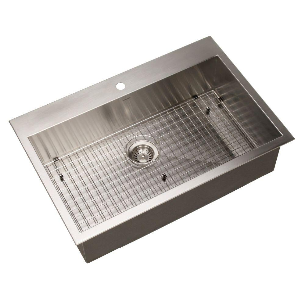 Bellus Series Zero Radius Drop-In Stainless Steel 33 in. 1-Hole Single
