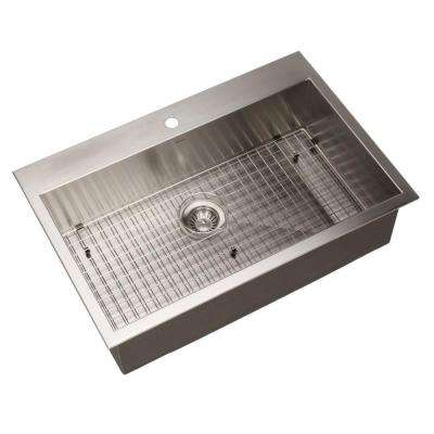 Bellus Series Zero Radius Drop-In Stainless Steel 33 in. 1-Hole Single Bowl Lavatory Sink