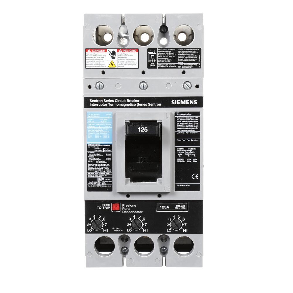 Siemens 125 Amp Type FXD6-A Triple-Pole Circuit Breaker by Siemens