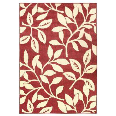 Floral Reversible Cream/Red Floral Flat Woven 7 ft. x 11 ft. Indoor/Outdoor Area Rug
