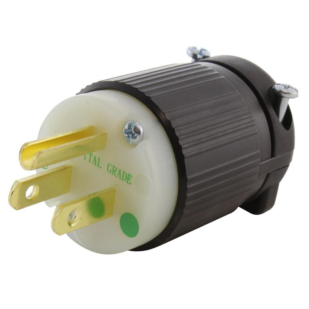 15 amp 125-volt nema 5-15p 3-prong medical hospital grade green dot male  plug