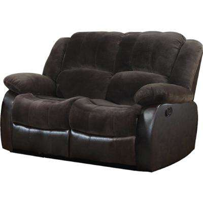 Brown Champion and PU Motion Loveseat (2 Reclining Seats)