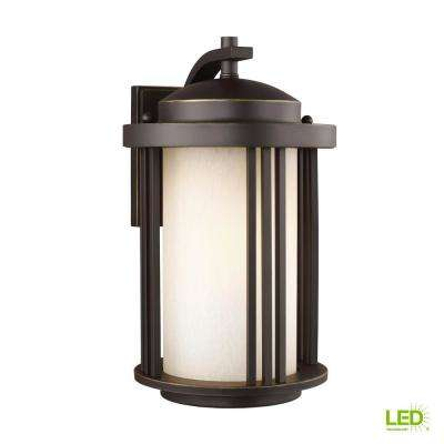 Crowell 1-Light Medium Antique Bronze Outdoor Wall Mount Lantern with LED Bulb
