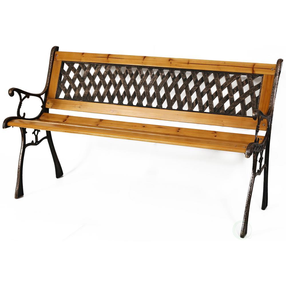 Gardenised Patio Garden Park Yard 49 in. Wooden Outdoor Bench