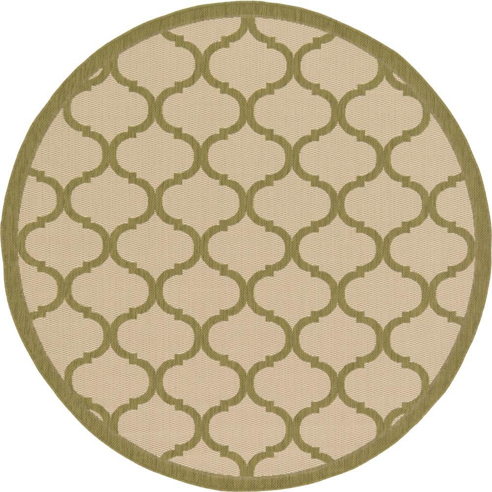 Outdoor Beige and Green 6 ft. x 6 ft. Round Area Rug