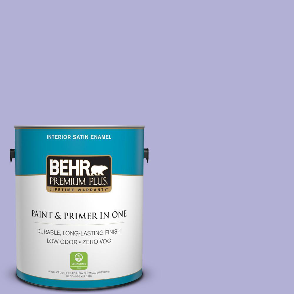 BEHR Premium Plus 1-gal. #630B-4 Freesia Purple Zero VOC Satin Enamel Interior Paint
