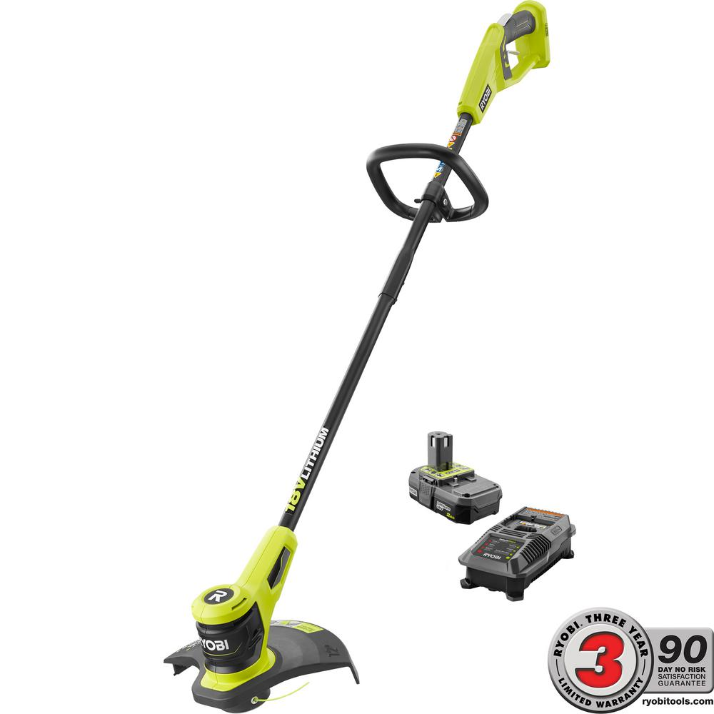 One 18 Volt Lithium Ion Electric Cordless String Trimmer 2 0 Ah Battery And Charger Included