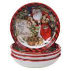 Magic of Christmas Santa 36 oz. Multicolored Earthenware Soup Bowl (Set of 4)