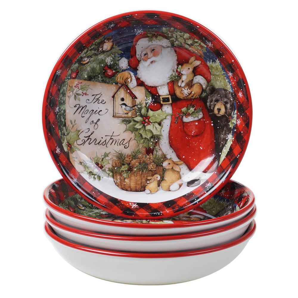 Magic of Christmas Santa 36 oz. Multicolored Earthenware Soup Bowl (Set of 4)