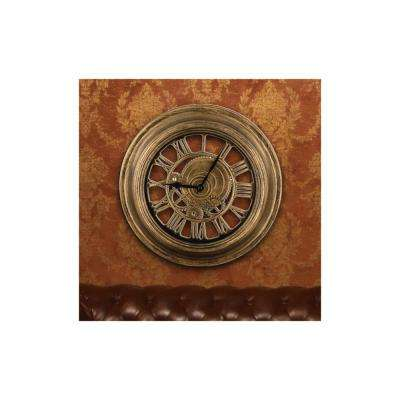 Gold Gear Design Wall Clock