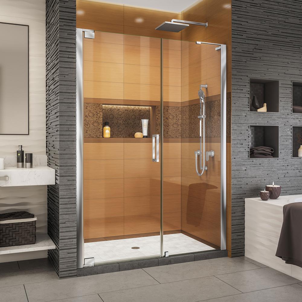 Elegance-LS 54-1/4 in. to 56-1/4 in. W x 72 in. H Frameless Pivot Shower Door in Chrome