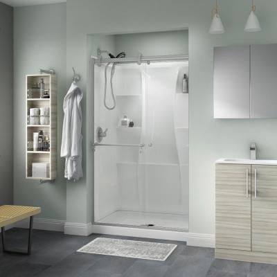 Portman 48 x 71 in. Frameless Contemporary Sliding Shower Door in Nickel with Clear Glass